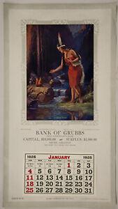 1925 Vintage Double Sided Calendar Sample L. Goddard Arthur J. Elsley Artwork