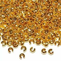ML5116 Gold 4mm Round Crimp Bead Cover Jewelry Component 100pc