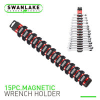 17 Inch Magnetic Wrench Holder Bar Tool Rack Organizer 15 Spanner Strong Magnet