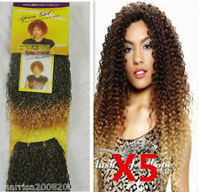 5 x  2 Tone Colour Curl Water Wave Synthetic Hair Extensions Weaving Weft 8 Inch