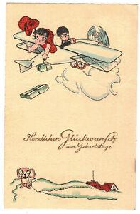 Ak Betty Boop im Flugzeug Geburtstag Glückwunsch 1929 Lausa (A4112