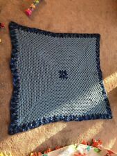 """HAND-CROCHETED BABY BLANKET - Blu - APPROX. 46"""" x 47"""" NEW"""