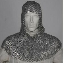 Flat Riveted With Flat Warser Chain mail shirt 10 mm Medieval Coif /Hood