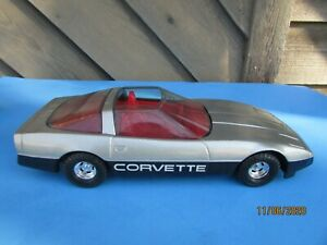 Vintage Ertl 1:16 1980s Silver Metallic Corvette w/Red Interior Diecast USA MADE