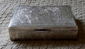 Egyptian 900Silver Decorative box with Hinged Lid/Wooden lining /Hand Crafted