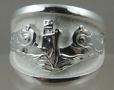 US Navy Licensed submarine dolphin regulation ring solid .925 sterling size 11