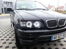 2 FEUX PHARE AVANT ANGEL EYES BMW X5 E53 2000-2003 PH 1 ANNEAUX CCFL BLANC 6000K