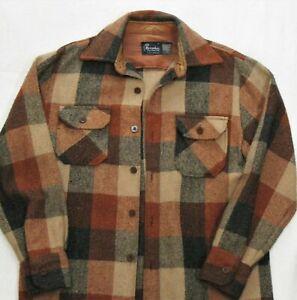 Vintage CPO Shirt Jacket Rust Orange Plaid Wool Blend Long Sleeve Size Medium