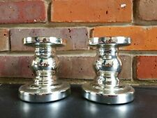 BRAND NEW PAIR OF SILVER MERCURY GLASS PILLAR CANDLE HOLDERS