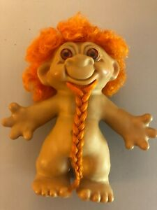 1960's Hippy Troll doll with Beard Orange Rooted hair 7 inches VINTAGE