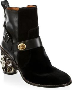 COACH NWOB $498 Black Suede '1941 Moto Ankle Boot' w. Floral Embellishments Sz 8