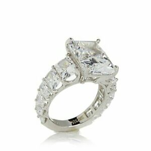 12.00 ct D/VVS1 Emerald Solitaire Engagement Ring 18K White Gold Over