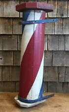 """Orginial Antique Barber Shop Wooden Pole Hand Painted Trade Sign 30"""""""
