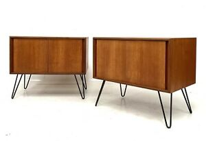PAIR OF VINTAGE RETRO G PLAN 'FORM 5' TEAK CUPBOARDS CABINETS HAIRPIN LEGS 1960s