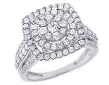 14K White Gold Genuine Diamond Square Halo Ladies Engagement Ring 1 1/4 CT