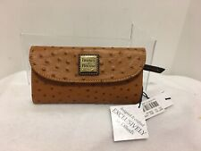 DOONEY & BOURKE Continental Clutch Wallet Checkbook Brown Tan Ostrich New w/tags