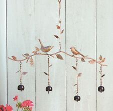 Birds & Bells Branch Mobile Metal Wind Chime Garden Art Flamed Copper Finish