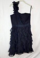 White House Black Market Ruffle Cocktail One Shoulder Black Dress Size 10