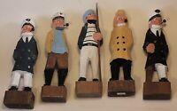 Hand Carved Sailor Crew Sea Captain Fisherman Wooden Nautical Figurine Lot 5