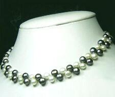 Genuine Fresh Water Black White Flat Pearl 18KWGP Clasp Women Lady Girl Necklace