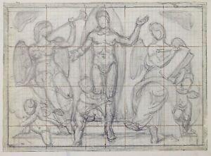 Giorgio Matteo Aicardi (1891- 1984) pencil sketch, figurative, religious, fresco