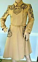 New VALENTINO Embroidered Camel Tan Dress Belted Trench Coat Jacket IT 40 / US 4