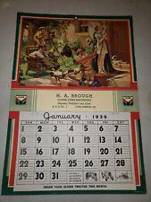 Original 1939 Oliver Farm Machinery Sign Calendar~York Springs PA~Country Store