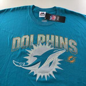 Men's Majestic NFL Miami Dolphins 3M Reflective Logo Tee Shirt XX Large NEW