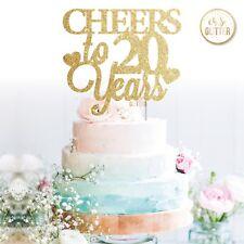 20th aniversario de bodas Cake Topper Brillo Dorado Personalizados 5 10 15 20 30 40 50