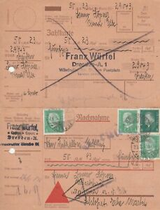 Nachnahmekarten Jahr 1931 verschickt von Dresden nach Pirna mit zurück Stempel