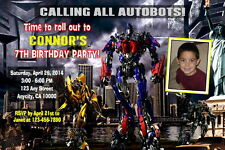 TRANSFORMERS CUSTOM PRINTABLE BIRTHDAY PARTY INVITATION & FREE THANK U CARD
