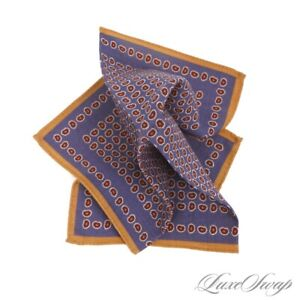 NWOT Made in Italy Dusty Blue Ochre Piped Neat Paisley 100% Wool Pocket Square