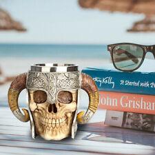 Coffee Mug Resin Striking Warrior Tankard Viking Skull Double Wall Cup