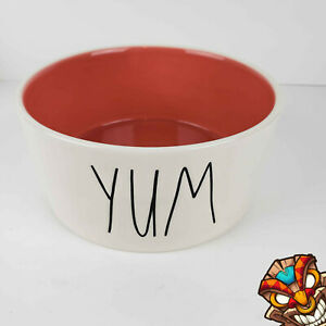 """Rae Dunn 6"""" Red YUM Pet Dog Food Bowl Dish Artisan Collection by Magenta NEW"""