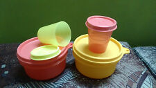 Tupperware Tiffin lunch box Storage Containers Bowls-2 Tropical Cup + 2 midget