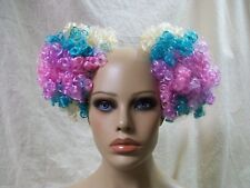Pastel Rainbow Clown Puffs Hair Bun Covers Curly Afro Pouf Comb Extensions Anime