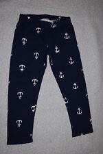 91b79b81c5326 Junior Womens KNIT CAPRI LEGGINGS Cropped NAVY BLUE w/ WHITE ANCHORS  Nautical XS