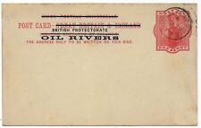 1894 BRITISH OIL RIVERS 1d red postal stationery PC w/OLD CALABAR RIVER CTO pmk