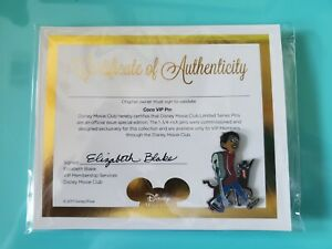 Coco Disney Movie Club VIP Exclusive Pin with COA 2017 FLAT RATE SHIPING!