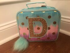 Justice Ombre Gold Foil Polka Dot Initial D Lunch Box Tote Blue Pink Purple New!