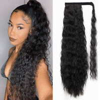 Natural Women Long Synthetic Afro Curly Kinky Wavy Ponytail Hair Extensions y