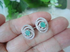 Natural Green EMERALD & White CZ Sterling 925 Silver EARRINGS