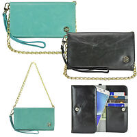 Luxury Smart Phone Flip Wallet Leather Pouch Chain Wrist Strap Purse Case Cover