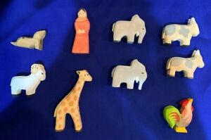 Ostheimer style wooden animals (8) with Noah's wife small handcarved/painted toy