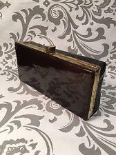 Vintage Women's Brown Vinyl Clutch Evening Bag Purse With Mirror #385