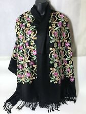 Fair Trade 3D Embroidery Black Pashmina Flower Scarf