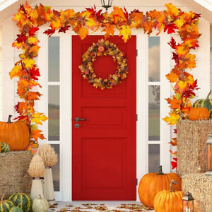 Artificial Maple Leaves Garland Hanging Plant Autumn Fall Party Home Decor UK