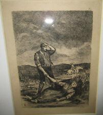 Eau forte XIXe gravure encadré vitre imprimeur Quantin paysan misère désespoir.