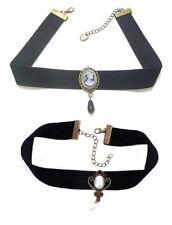 Black Lace Cameo Pearl Retro Gothic Dress Collar Tattoo Bead Choker Necklace UK