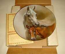 HORSES OF FRED STONE Gorgeous White & Brown Horses ARABIAN MARE & FOAL Plate